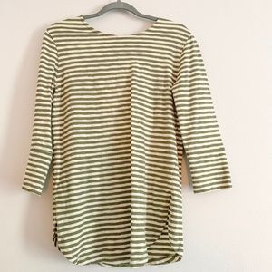 Green/ White Striped Top